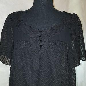 Black sheer short sleeve top